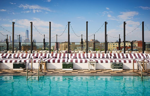 The rooftop pool at Soho House New York offers dazzling views of the Financial District and One World Trade Center