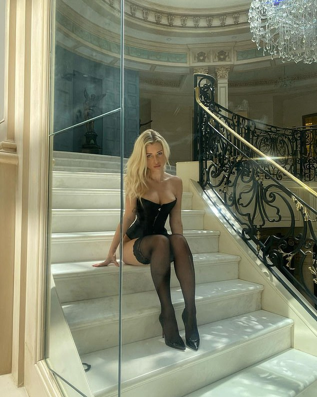 Having raised eyebrows by selling saucy snaps of herself on an adult content site, Lottie Moss, half-sister of Kate Moss, was at it again as she donned a corset and stockings for a photoshoot in LA