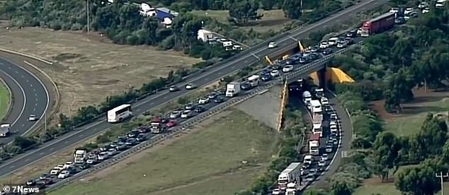The accident caused major delays along the freeway, with traffic backed up for several kilometres (pictured)