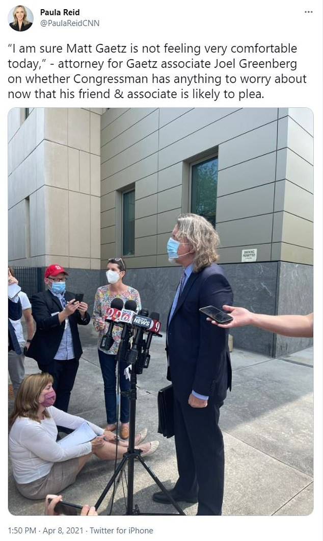 CNN's Paula Reid captured Joel Greenberg's lawyerFritz Scheller outside the courthouse Thursday