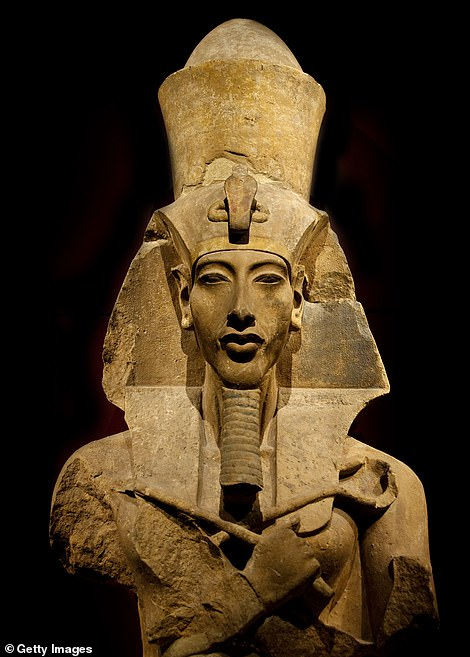 The ancient pharaonic city, known as Aten, was constructed by King Amenhotep III (pictured), who begin his rule around 1391 BC