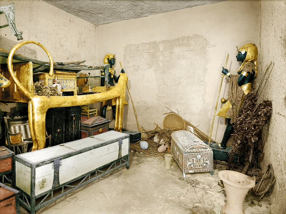 King Tutankhamun's tomb is one of the most lavish to be discovered in history, filled with precious objects to aid the young Pharaoh on his voyage to the afterlife. The trove of grave goods included 5,000 items including solid gold funeral shoes, statues, games and strange animals