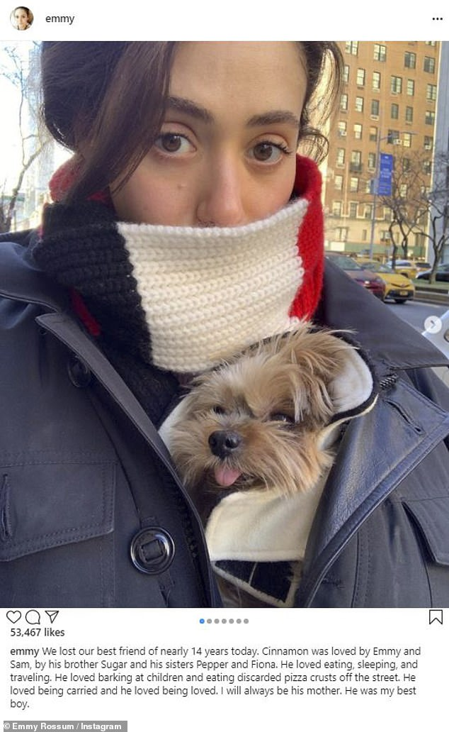Sad:Emmy Rossum,34, mourned her late dog Cinnamon in an Instagram post on Thursday, noting she had the pet for nearly 14 years