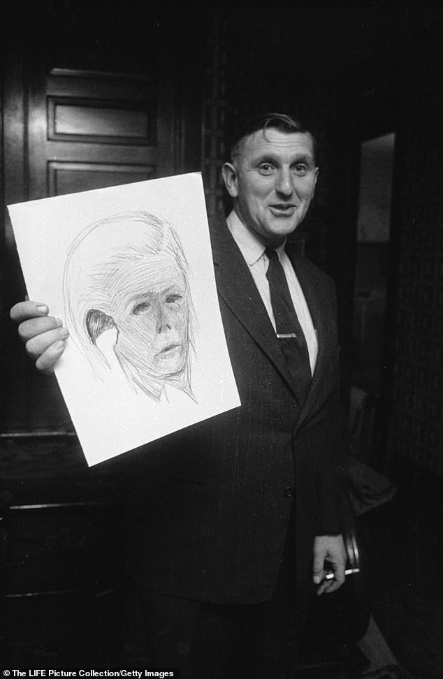 An unidentified man with a cigarette holds up a sketch of evidence in the case against serial killer Ed Gein on November 20, 1957. The sketch appears to be a face, possibly a dead skin mask