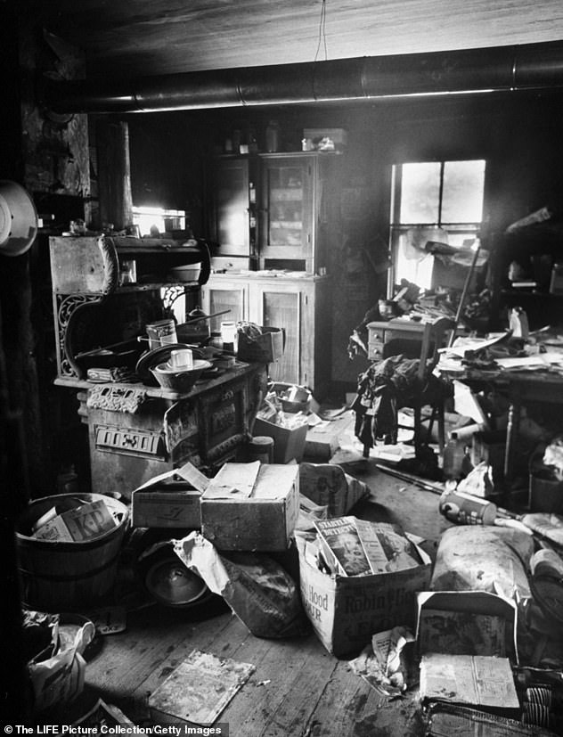 Filthy, cluttered kitchen of alleged mass murderer Ed Gein, where parts of his victim's bodies were found