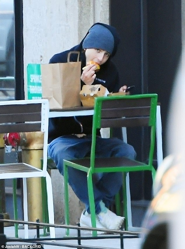 Lunch date: Timothee Chalametenjoyed lunch at a Shake Shack location in New York City on Thursday afternoon