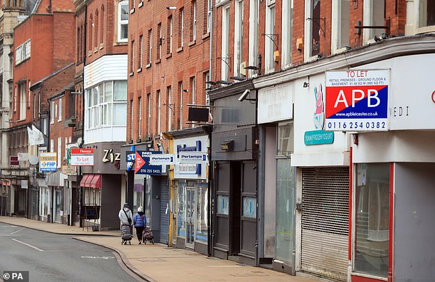 Many shops remain closed on the High Street in Leicester during England's third national lockdown on January 15
