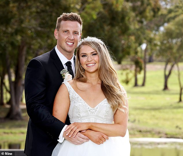 A recovery in the advertising market is also helping media companies with Nine Entertainment adding 1.8 per cent to $2.84. Pictured are Married At First Sight's Liam Cooper with his wife Georgia