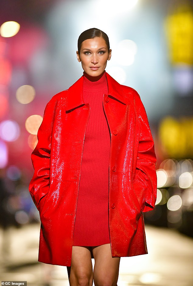 Lady in red: The catwalk sensation, 24, looked ravishing in a red minidress, as she strode through the streets of Manhattan's Broadway, just outside the Bernard B. Jacobs Theatre