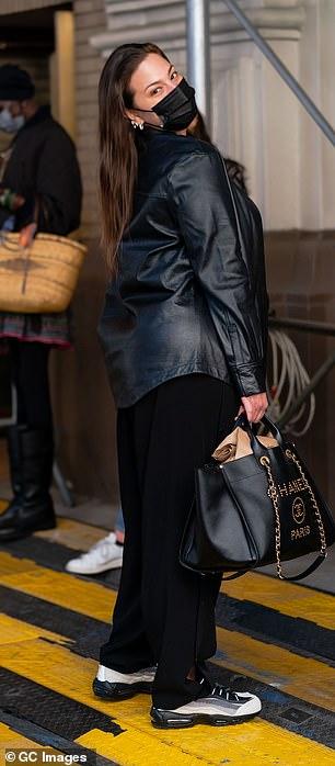 Back to black: Ashley was seen sporting an all-black ensemble