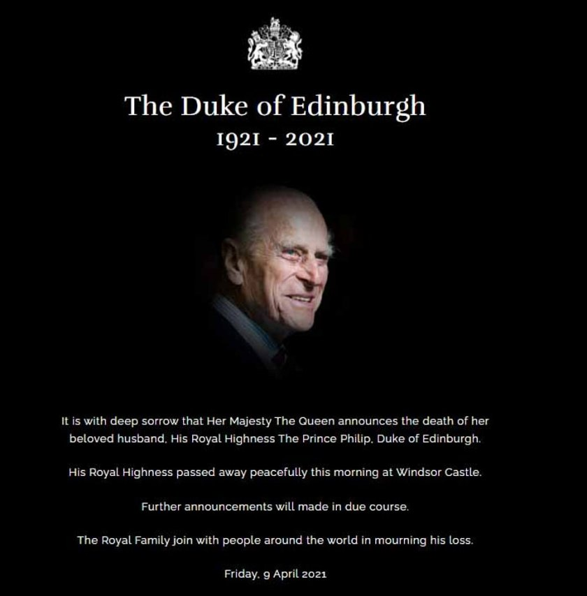 Sad: His death plunges the nation and the Royal Family into mourning, and brings to an end Philip's lifetime of service to Britain and to Elizabeth, the Queen who adored him since her teens