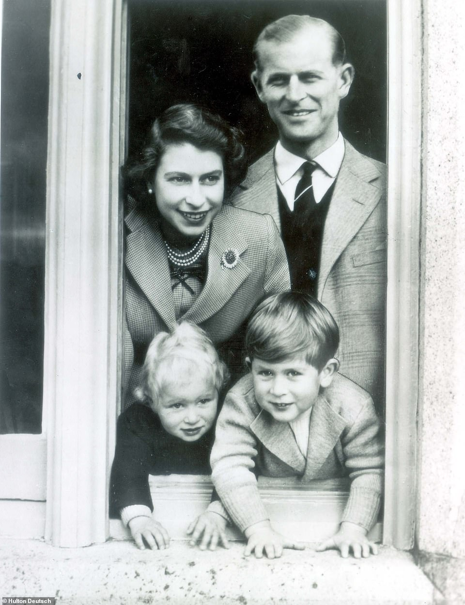 Queen Elizabeth II with Prince Philip, Prince Charles and Princess Anne at Balmoral in September 1952