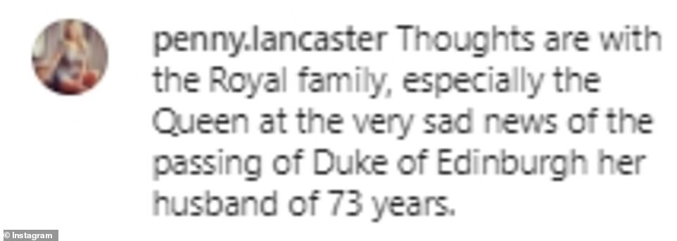 Moving: Penny Lancaster offered her own thoughts for the Royal Family following the news of Prince Philip's passing