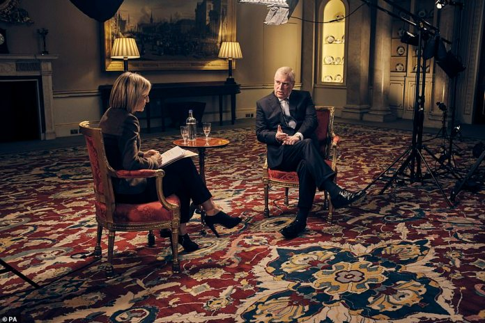 Prince Andrew speaks to BBC Newsnight's Emily Maitlis in an interview on November 16, 2019