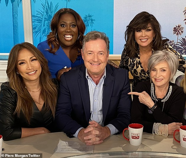 Osbourne (far right) and Underwood (second from left) had a heated exchange over Osbourne's support for his friend Piers Morgan (third from left), who has been criticized for his comments on Meghan Markle and Prince Harry.  Morgan posted this photo in February 2020 from last year's show's old panel.  From left to right: Carrie Ann Inaba, Underwood, Morgan, Marie Osmond and Osbourne