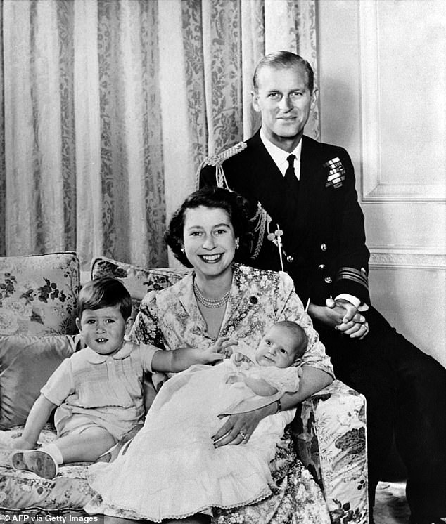 Prince Philip, this gloriously alpha male warrior, played second fiddle to the woman he loved. But he did it willingly, with fierce pride. I loved him for that, and Britain loved him for that. Pictured: Queen Elizabeth holding Princess Anne, Prince Charles and Prince Philip