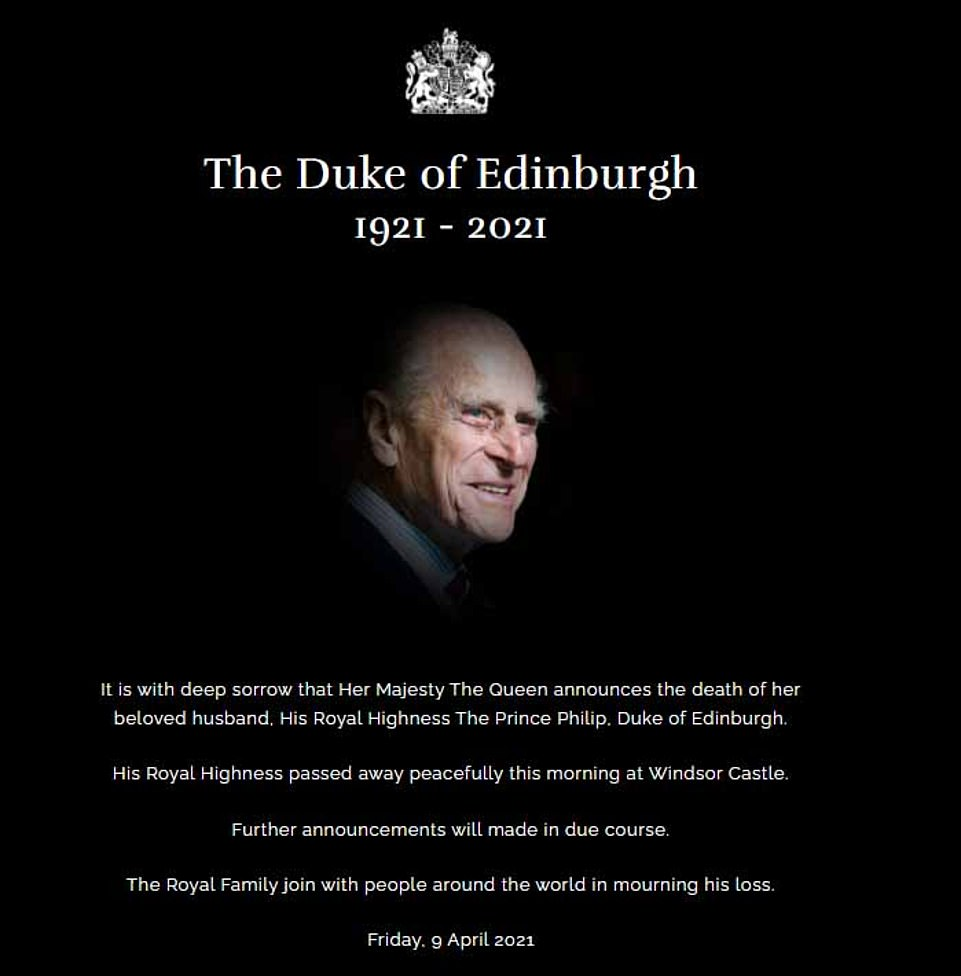 Tragic: Buckingham Palace announced the death of Prince Philip at just after midday on Friday - and described the Queen's 'deep sorrow'