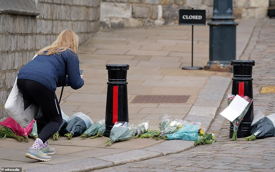 Windsor Castle as crowds start to gather outside following the announcement that HRH Prince Philip has died today