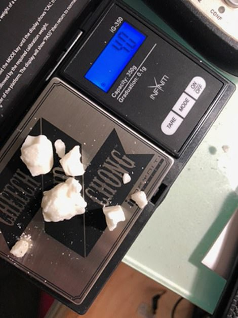 Pictures found on the laptop show what appears to be thousands of dollars worth of crack bagged up on a Cheech and Chong branded scale, and Hunter naked and in bed with women