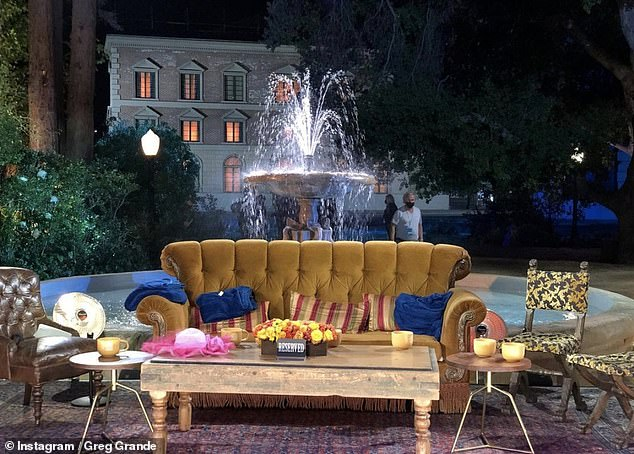 Brings back memories:Friends' original set decorator hinted that the hotly-anticipated and much-delayed reunion show had started filming after sharing a snap of the iconic fountain set