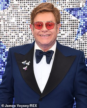 Support: Elton, pictured in 2019, said: 'I pray for him every night. He's in my prayers and you, your family. He's an amazing man, please give him my love'