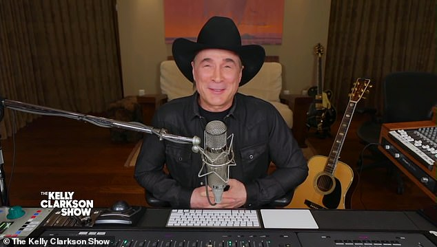 Spill the beans: Clarkson told her guest, Clint Black, that she hadn't had a good time using the wastebasket, and noted that she had 'destroyed' it