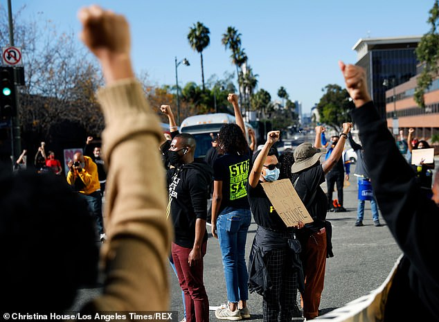 Protesters stop traffic in Los Angeles outside the Los Angeles mayor's house in November