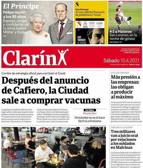Argentinian paper Clarin pictured Philip with the Queen