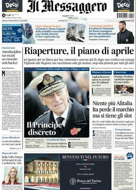 Il Messaggero showed the duke in his naval attire with the headline: 'The discreet Prince'