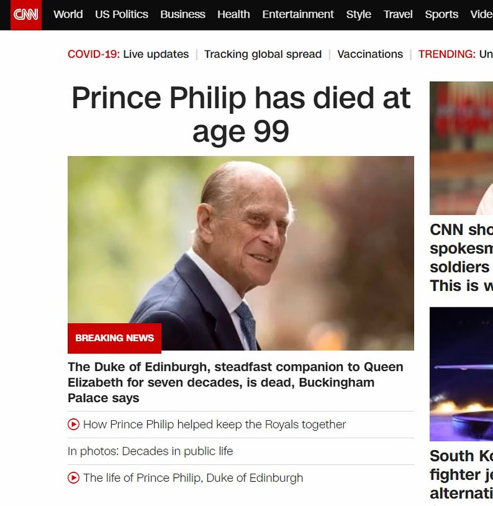 US news CNN wrote: 'Prince Philip has died at age 99'