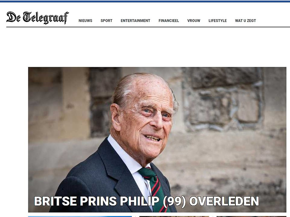 De Telegraaf, the largest Dutch daily morning newspaper, wrote: 'British Prince Philip passed away'