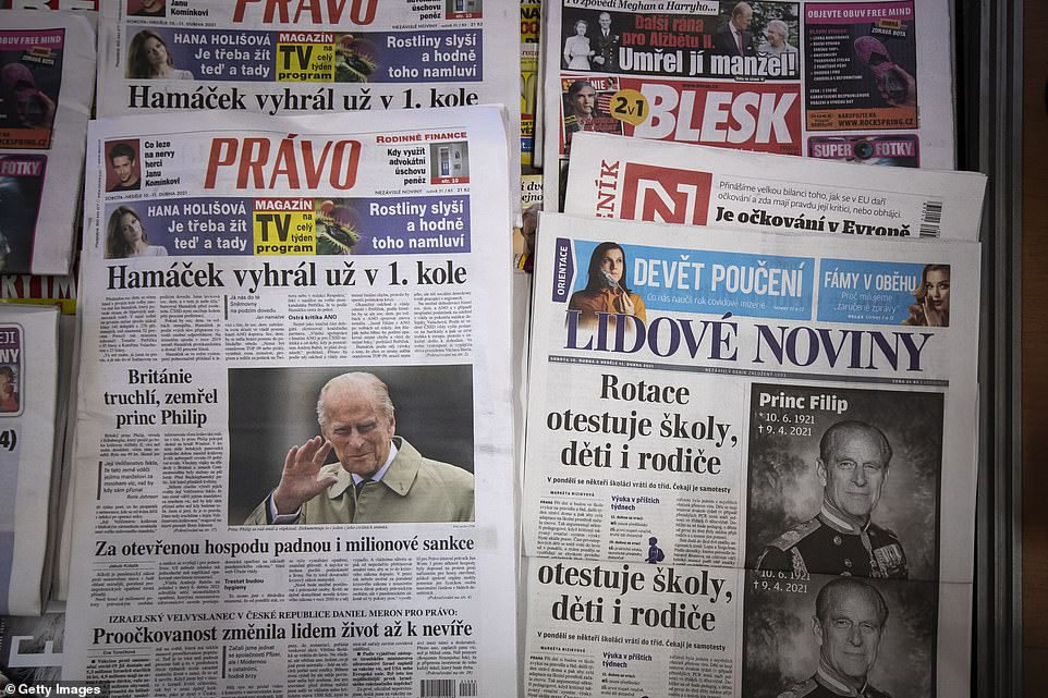 CZECH REPUBLIC:A selection of the Czech newspaper front pages paying tribute to Prince Philip are seen at a kiosk in Prague this morning