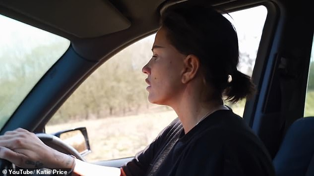 Ouch: Katie was banned from driving in 2019 for two years after being accused of withholding the driver's name after her Range Rover was involved in a collision in Bexley, south-east London.
