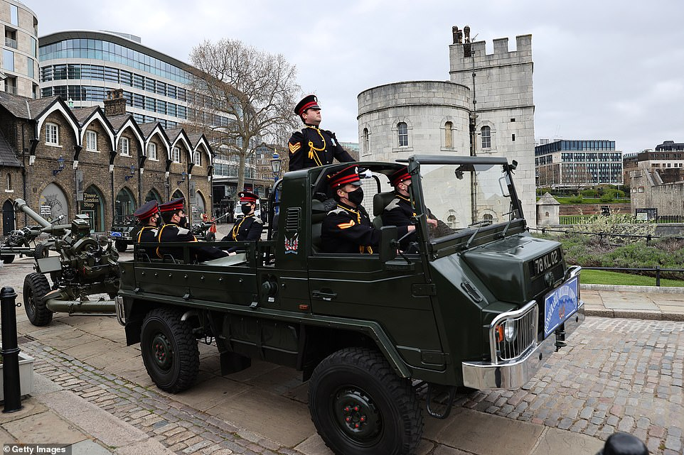 The Honourable Artillery Company, the City of London's Reserve Army Regiment wear ceremonial attire and drive in their liveried Pinzgauer vehicles at The Tower of London