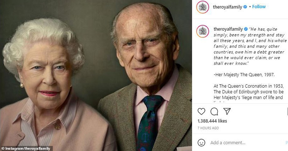 The Queen has shared a touching tribute to the Duke of Edinburgh - a day after her husband of 73 years died at Windsor Castle at the age of 99. A portrait, which shows Her Majesty, 94, sitting next to Prince Philip, was posted on the Royal Family's social media along with a moving quote from the monarch about her husband from a speech she made celebrating their golden wedding anniversary in 1997