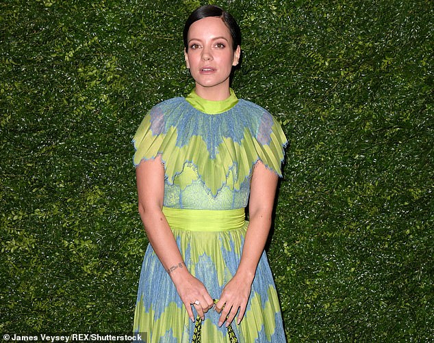 Singer Lily Allen, 35, pictured at Charles Finch and Chanel's pre-BAFTA dinner at Loulou's, London in February last year