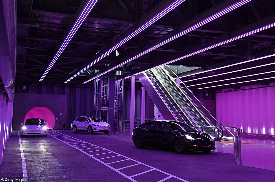 Tesla cars are shown in the Central Station during a media preview of the Las Vegas Convention Center Loop on Friday