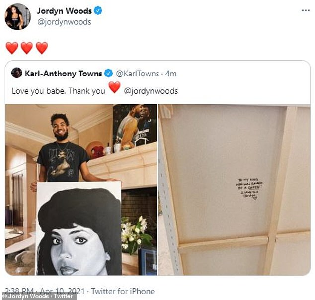 'Thank you': Karl-Anthony tweeted pictures of the portrait and the inscription on Saturday and wrote: 'Love you babe'