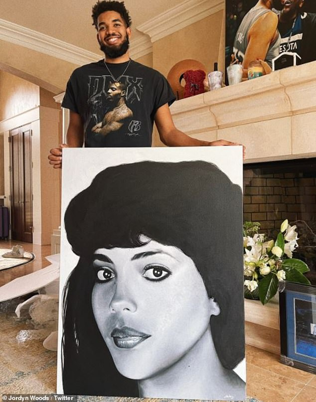 So sweet: Jordyn Woods gave her NBA boyfriend Karl-Anthony Towns a portrait of her late mother Jacqueline