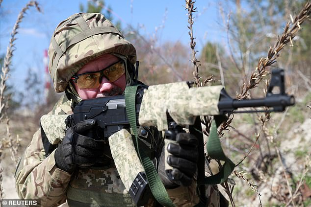 Reservists from the 130th Battalion of the Ukrainian Territorial Defense Force participated in military exercises on the outskirts of Kiev, Ukraine