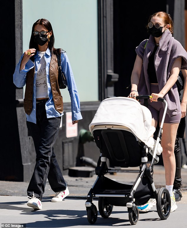 MIA: Necessarily sitting out her photoshoot was her seven-month-old daughter Khai, whom she welcomed with her partner Zayn Malik; seen with Bella Hadid on April 8