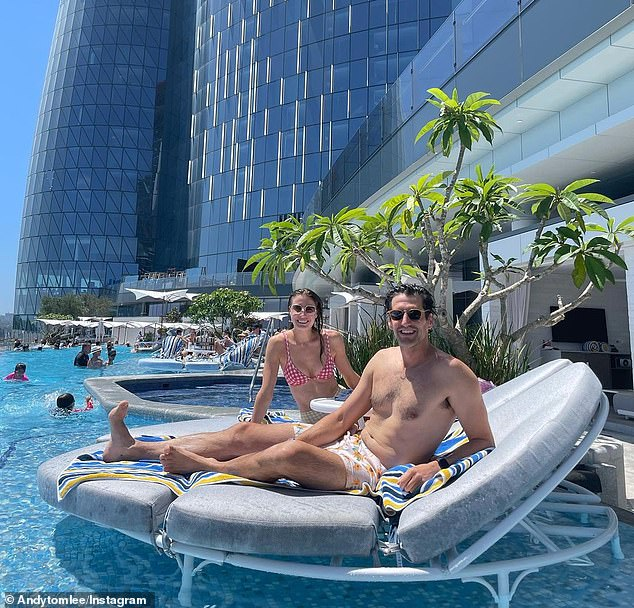 Life in lockdown: Andy Lee (pictured with girlfriend Rebecca Harding) told Body and Soul on Sunday how he lost seven kilograms and then gained it all back, with pubs closing and then opening again amid the coronavirus pandemic