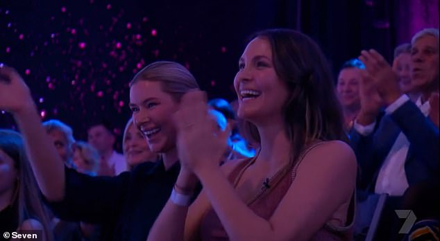 She's keen! One person who was very impressed was Matty's fiancée Laura Byrne (pictured) who was watching from the audience
