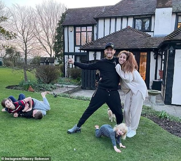 Family: Stacey has been documenting her renovation work at her new Essex pad to Instagram, after moving into the property earlier this year with her fiance, Joe Swash, 39, and her three sons Zachary, 13, and Leighton, eight, and Rex, 22 months