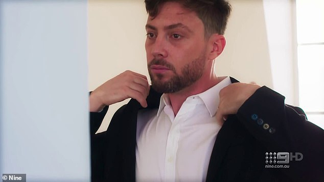'I'm scared of telling Alana how I feel and her not feeling the same': The emotionally-charged clip begins with footage of Jason nervously adjusting his suit in the mirror as he prepared to meet Alana at the altar