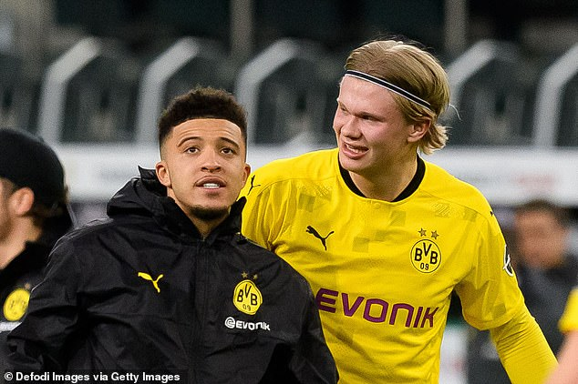 A deal to sign Haaland's team-mate Jadon Sancho (L) is not yet off the table at Old Trafford