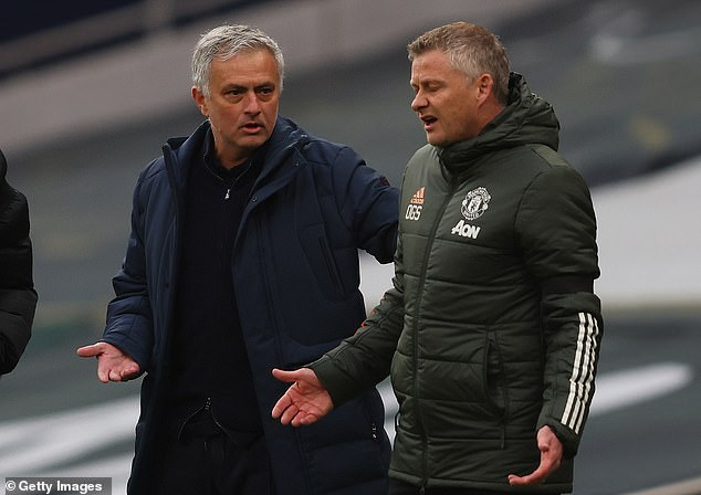 Tottenham fans have reacted angrily to Jose Mourinho (left) criticism of Ole Gunnar Solskjaer following Spurs' 3-1 defeat to Manchester United
