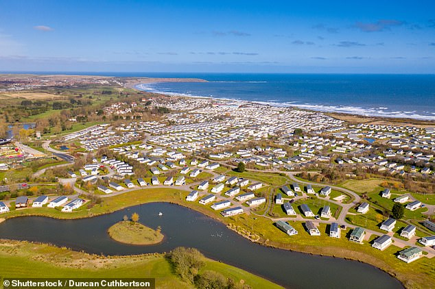 Booking site Pitchup.com shows 361 campsites which are open in England from today with prices starting from just £5 per stay. Pictured: Caravan park in Primrose Valley in East Yorkshire