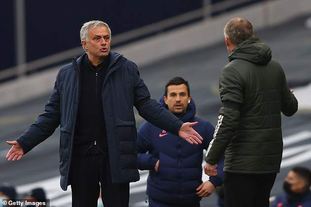 Mourinho and Solskjaer exchanged words on the touchline after United's goal was disallowed