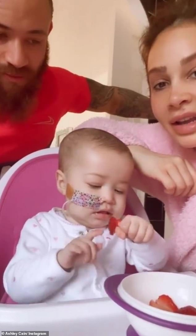 Her love:Over the weekend, Safiyya shared a heartwarming video showing the family eating together, with Azaylia tucking into strawberries while her parents looked on